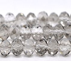 French Gray, 8mm, Faceted Rondelle, 20 Pieces, 8GL13-0006
