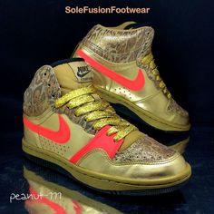 Nike Womens Court Force Trainers Gold sz 4 Glitter Leopard Sneakers US 6.5 37.5  | eBay
