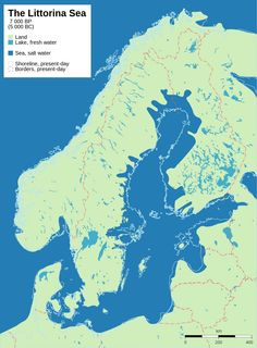 The Littorina Sea, ca 7 000 years before present (5 000 BC). Shows post-glacial rebound and shore displacement of the Baltic Sea