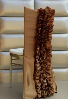 Ruffled Satin Chair Cover in Your Colors
