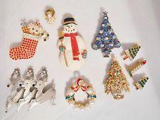 Vintage Christmas Holiday Brooch Pins ART JJ AJC 10 Pieces Snowman Angel Etc