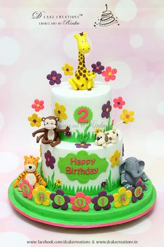 Cute Animal Topper Cake