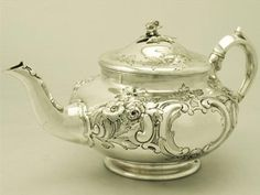 A Fine Antique Edwardian English Sterling Silver Teapot...I love this, gorgeous!