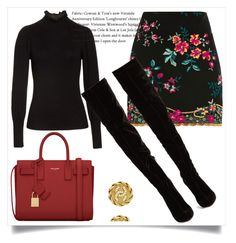 """""""Floral skirt"""" by nativedoll ❤ liked on Polyvore featuring Topshop, Rebecca Taylor, Christian Louboutin, Yves Saint Laurent and Chanel"""