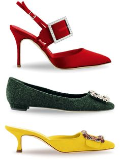 From top: satin Beladona slingbacks, £795, wool Hangisi flats, £765, and suede Maysale mules with embellished jewel buckle, £820