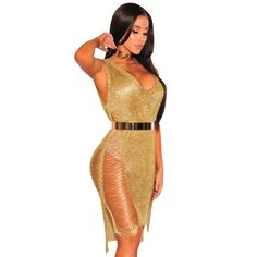 c016d7df4bf Summer Women Beach Dress Sexy Hollow Out Mesh Side Split Bodycon Dress  Women Party Wear V-Neck Gold Club Dresses Robe Femme
