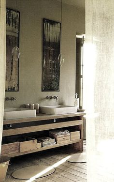 Wooden Wine Crates & Cigar Boxes In The Bathroom.