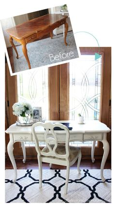 French Provincial Desk Made over with Cottage White paint by Behr (made into DIY chalk paint) from Confessions of a Serial Do-it-Yourselfer