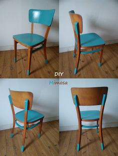 Furniture makeover: make new with old - revamped vintage bistro style chair, repainted chair, DIY furniture makeover Refurbished Furniture, Retro Furniture, Repurposed Furniture, Painted Furniture, Furniture Design, Street Furniture, Furniture Chairs, Antique Furniture, Diy Furniture Projects