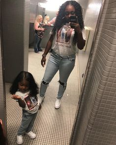 Image may contain: 3 people, people standing, selfie, phone and indoor Cute Mixed Babies, Cute Black Babies, Black Baby Girls, Beautiful Black Babies, Twin Girls Outfits, Mommy And Me Outfits, Cute Outfits For Kids, Mother Daughter Matching Outfits, Mother Daughter Fashion