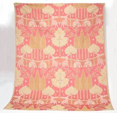 CFA Voysey vintage English fabric panel Stags & Swans motif Arts &…