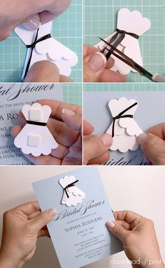 How to make a 3D paper wedding dress DIY bridal shower invitation | Download & Print (aff linkk)