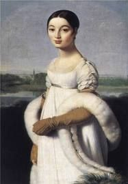 장 오귀스트 도미니크 앵그르 [카롤린 리비에르], 18세기  앵그르 시대는 엠파이어 스타일의 시대이다. 그의 작품속에는 가슴선이 높아지고 그리스 시대의 드레스를 모티브로 하여 흘러내리는 듯 한 스타일의 숄을 둘른 여인들이 많다.   여성이 되어가는 사춘기 소녀의 아름다움이 잘 느껴지는 이 그림에서, 리비에르는 하얀색 드레스를 입음으로써 그녀의 순수함이 한층 더 강조되는 듯 하다. 그림 전체에 나타나는 부드러운 곡선과 이와 반대로 세밀하게 표현된 소매와 주름 등이 돋보인다. 다른 중년 여성의 초상화들과 달리 10대 소녀만이 가질 수 있는 표정과 분위기가 인상깊은 작품이다.