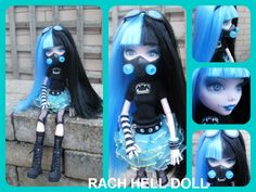 Monster high custom Kenzie cyber goth mh repaint by Rach-Hells-Dollhaus.deviantart.com on @deviantART