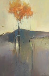 "Contemporary Abstract Mixed Media Landscape Painting ""Transition"" by Intuitive Artist Joan Fullerton"
