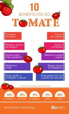 Conheça os incríveis benefícios do tomate para a saúde. Clique na imagem e veja também os 10 Alimentos Poderosos que Aumentam a Imunidade #tomate #alimento #alimentaçãosaudável #saúde #alimentação #bemestar #imunidade