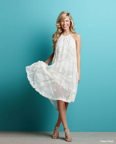 Cotton Tulle Kauai Dress With Leaf Embroidery Braided Neck Ribbon And Asymmetrical Hem