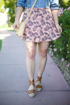 Mae Amor- button up pineapple skirt, flatfor espadrille sandals, denim shirt, boater hat, J.Crew crossbody