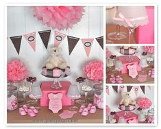 Pink and brown, bear themed baby shower