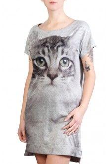 Comprar camiseta-vestido-estampada-com-gato-cinza-usenatureza