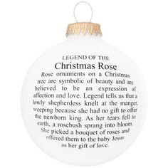 The Legend Of The Christmas Rose Glass Ornament from Bronner's Christmas store of Christmas ornaments and Christmas lights Christmas Poems, Christmas Rose, 12 Days Of Christmas, Christmas Activities, A Christmas Story, Christmas Printables, Christmas Pictures, Christmas Projects, Christmas Traditions