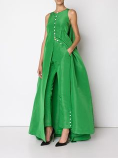 'Faille Thumper' green gown and trouser combo Classy Dress, Classy Outfits, Party Gowns, Party Dress, Elegant Dresses, Beautiful Dresses, Party Fashion, Fashion Outfits, Party Mode