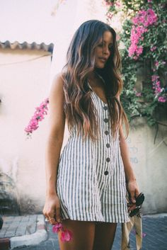 striped romper, long beachy waves hair