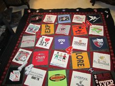 great wonky pieced tshirt quilt. Uses small items in the border