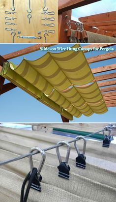Build a SLIDE-ON WIRE HUNG CANOPY for your backyard wooden pergola. Slide the roof closed to create a shady retreat; open it to let in the sun or gaze at the stars ideas pergola 10 Exciting DIY Ideas to Build a Shady Space for Patio - HomeDesignInspired Wooden Pergola, Outdoor Pergola, Backyard Pergola, Pergola Plans, Backyard Landscaping, Patio Roof, Building A Pergola, Patio Plans, Cement Patio
