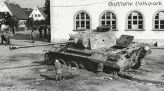Panther Ausf D wreck in Bamberg , Germany 1945