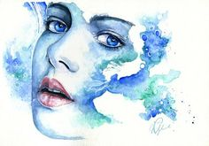 Watercolor nymph by Joanna Wedrychowska