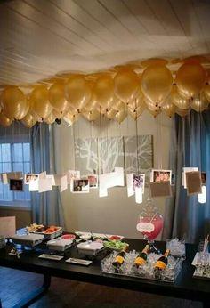 Balões com gás hélio e fotos.