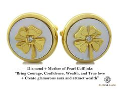 """Diamond + Mother of Pearl Sterling Silver Cufflinks, 18K Yellow Gold plated, Lucky Model """"Bring Courage, Confidence, Wealth, and True love + Create glamorous aura and attract wealth"""" *** Combine 2 Gemstone Powers to double your LUCK ***"""