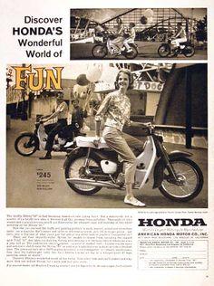 Items similar to 1962 Honda 50 Motorcycle Ad Woman Riding Motorbike Photo Vintage Advertisement Wall Art Decor on Etsy Honda Motors, Honda Scooters, Motor Scooters, Honda Cub, Vintage Advertisements, Vintage Ads, Retro Ads, Vintage Style, Vintage Honda Motorcycles