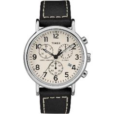 The post Timex Watch Men& Weekender Chronograph Leather Strap Silver-Tone/black/cream Item # appeared first on All Shop At Home. Stylish Watches, Watches For Men, Luxury Watches, Herren Chronograph, Weekender, Timex Watches, Men's Watches, Stitching Leather, Fashion Watches