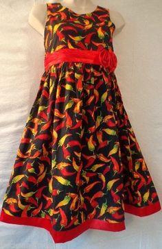 Sleeveless Red Orange Summer Black Dress 8 Chili Peppers Satin Trim *FLAW Empire #TV #EmpireWaist