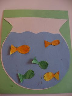 Fish Bowl!This is a fun craft project that can be as simple or as complicated as you desire. I kept it simple for my 17 month old, but with older kids you could include real sand, some plants and other species too!Gather your materials. You will need some construction paper, a pencil, scissors, some