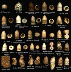 Civil War bullets - The bullet marked with human teeth is most interesting to me. Sedatives were not widely accessible in war times, soldiers were given a bullet to bite down on. Hence the term 'bite the bullet' to get something done and over with.