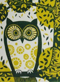 Owl by Fiona Humphrey (linocut)