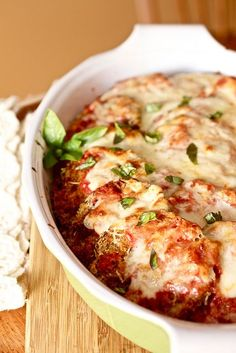 Baked Eggplant Parmesan - made it tonight for dinner and it was wonderful.  Awesome that it's not fried! I use sliced fresh mozzarella and far less.  Makes it more about the crispy eggplant.  Freezes beautifully - before final bake after assembly.  Delish!.