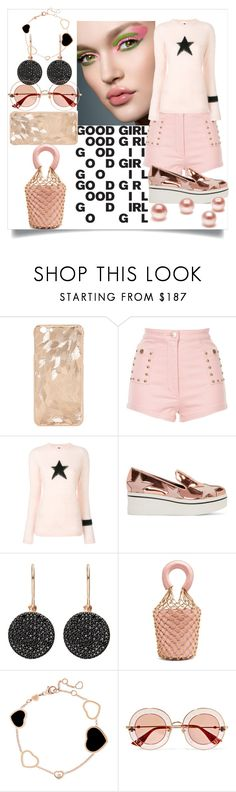 """""""Roses are Gold"""" by flibberdejibbet ❤ liked on Polyvore featuring Alice McCall, Bella Freud, STELLA McCARTNEY, Astley Clarke, Staud, Chopard and Gucci"""