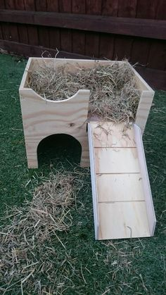 """THIS IS A NEW SMALLER VERSION OF MY CASTLE THAT FITS IN A CAGE. This new design 2 storey play castle / shelter is ideal for your guinea pigs to play in. It's 13"""" wide x 10""""deep and 10"""" high, with a 5"""" x 5"""" entrance hole on the bottom level with ramp that leads to the upper level. Its got no bottom which makes it easy to clean, just keep moving it around.(Its not painted but most people have some spare paint left over in t..."""