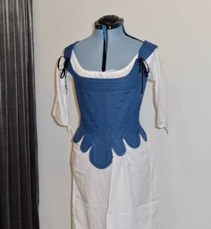 "Readymade Colonial 1780s Partially Boned Corset, 32"" Waist, Blue Linen by historicaldesigns on Etsy"