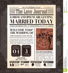 Vintage Newspaper Wedding Invitation Card Design - Download From Over 41 Million High Quality Stock Photos, Images, Vectors. Sign up for FREE today. Image: 40855295