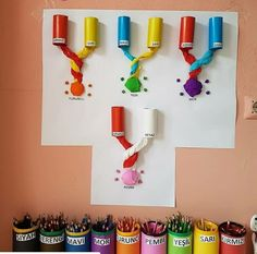 Inspiration for the mini art room – Prescholl Ideas Kindergarten Art, Preschool Classroom, Preschool Activities, Art Classroom Decor, Classroom Displays, Class Decoration, School Decorations, Classe D'art, Art For Kids