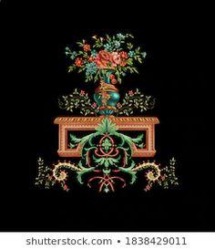 Ornament Drawing, Design Seeds, Album Design, Baroque Fashion, Botanical Flowers, Floral Border, Textile Design, Textile Art, Handmade Flowers