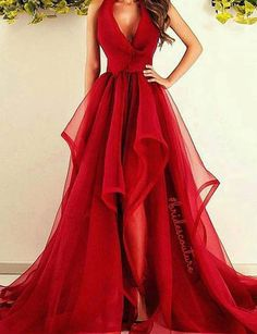 New Fashions V-Neck Red Organza Long Prom/Evening Dress prom,prom dress,prom dresses,prom gown,prom gowns,red prom dress