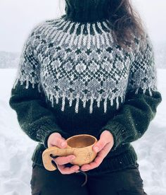 I'm very excited about my new design! I am very happy that I started over. I made a few changes in the pattern and unraveled… Knitting Terms, Fair Isle Knitting, Loom Knitting, Hand Knitting, Handgestrickte Pullover, Icelandic Sweaters, Nordic Sweater, Knitwear Fashion, Hand Knitted Sweaters