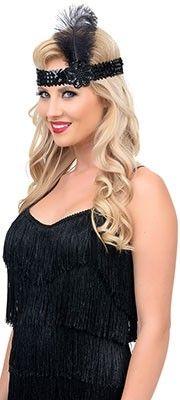 Black Sequin & Feather Stretch Headband