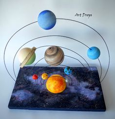 Maquete do sistema solar Solar System Mobile, Solar System Crafts, Solar System Planets, School Science Projects, Science Experiments Kids, Science For Kids, Activities For Kids, Solar System Projects For Kids, Solar System Activities